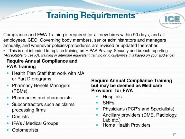 Require Annual Compliance and FWA Training