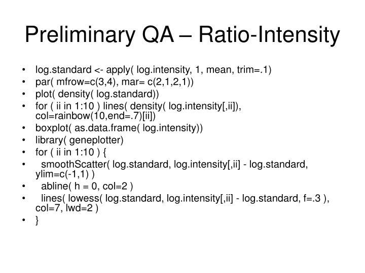 Preliminary QA – Ratio-Intensity