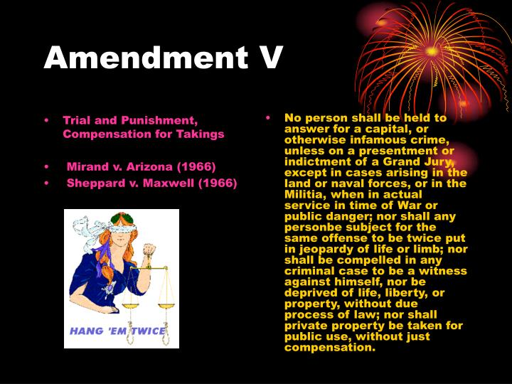 Trial and Punishment, Compensation for Takings