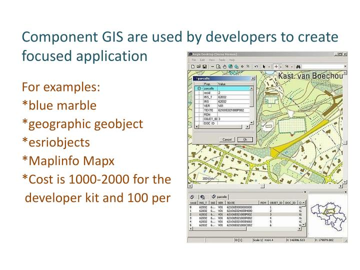 Component GIS are used by developers to create focused application