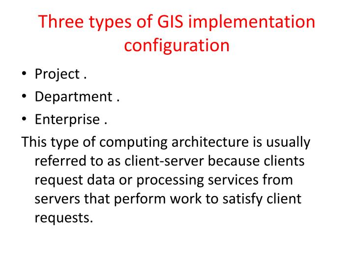 Three types of GIS implementation configuration