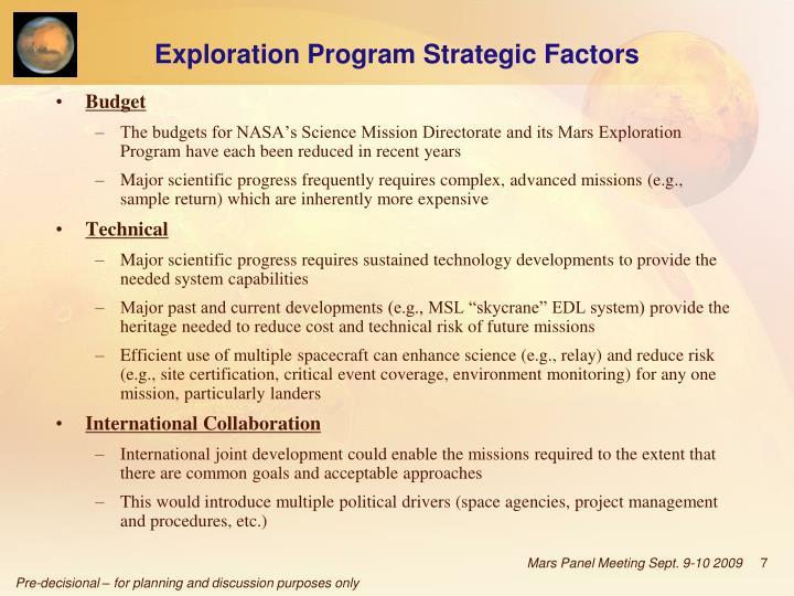 Exploration Program Strategic Factors