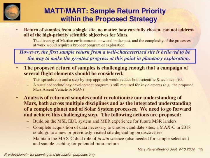 MATT/MART: Sample Return Priority