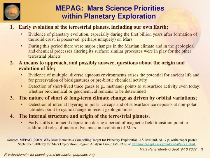 MEPAG:  Mars Science Priorities