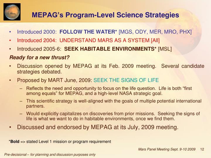 MEPAG's Program-Level Science Strategies