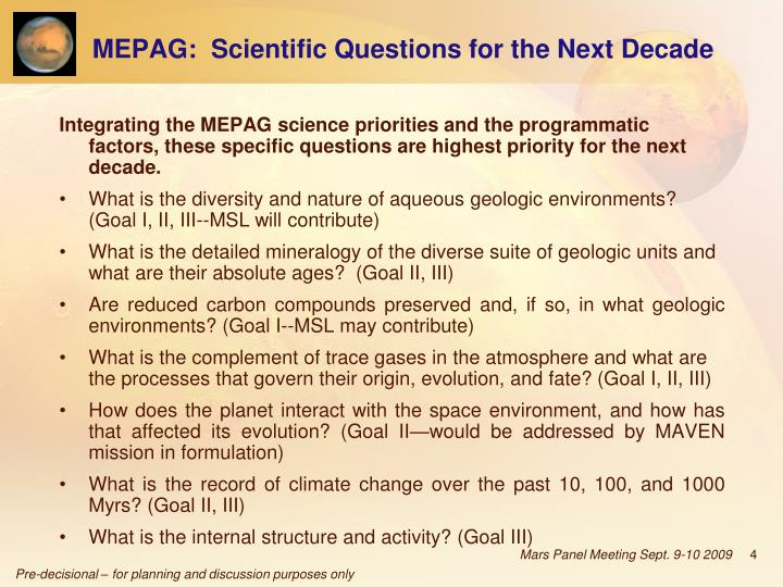 MEPAG:  Scientific Questions for the Next Decade