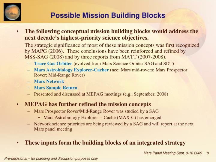 Possible Mission Building Blocks