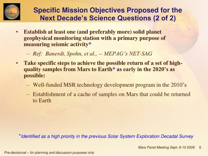 Specific Mission Objectives Proposed for the