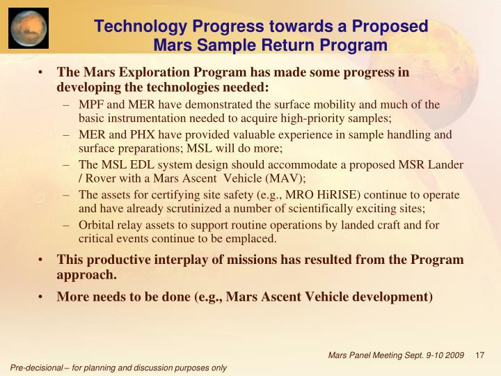 Technology Progress towards a Proposed