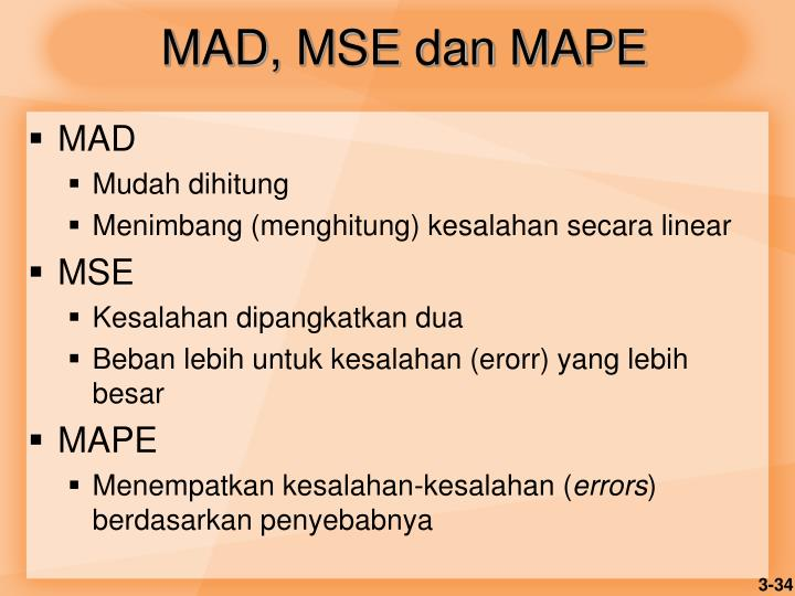 MAD, MSE