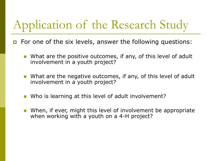 Application of the Research Study