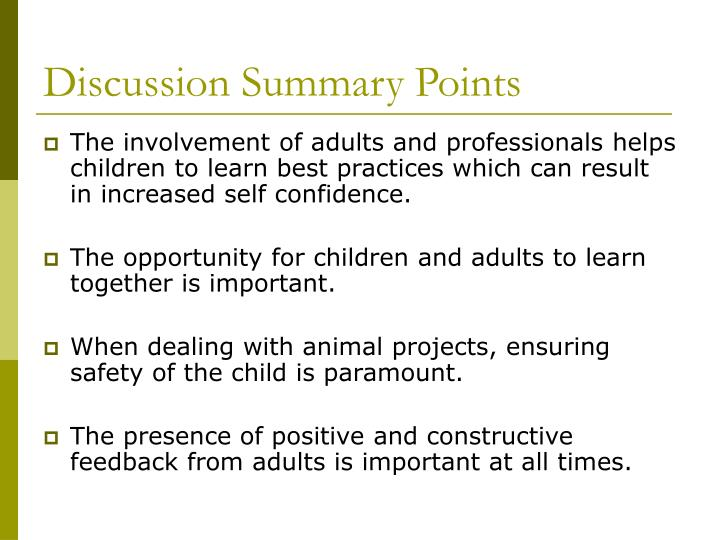 Discussion Summary Points