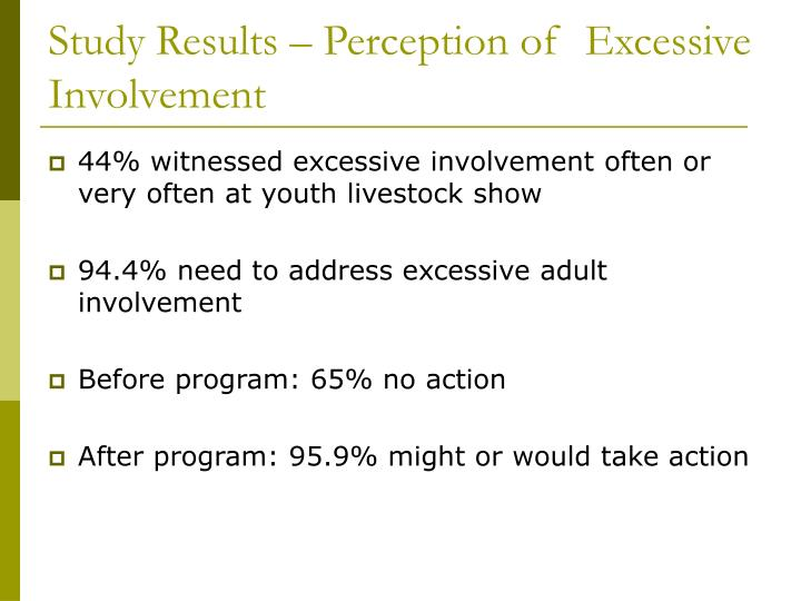Study Results – Perception of  Excessive Involvement