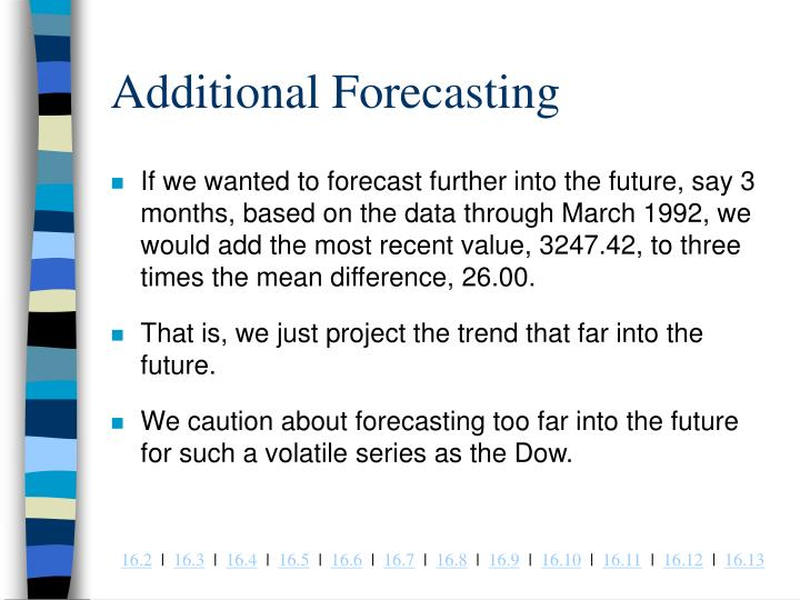 Additional Forecasting