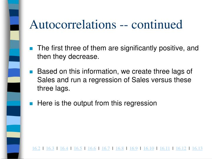 Autocorrelations -- continued