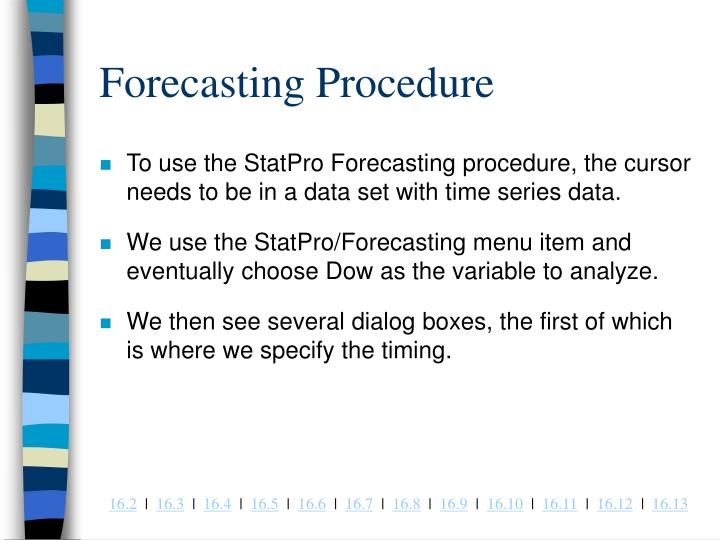 Forecasting Procedure