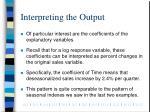 interpreting the output