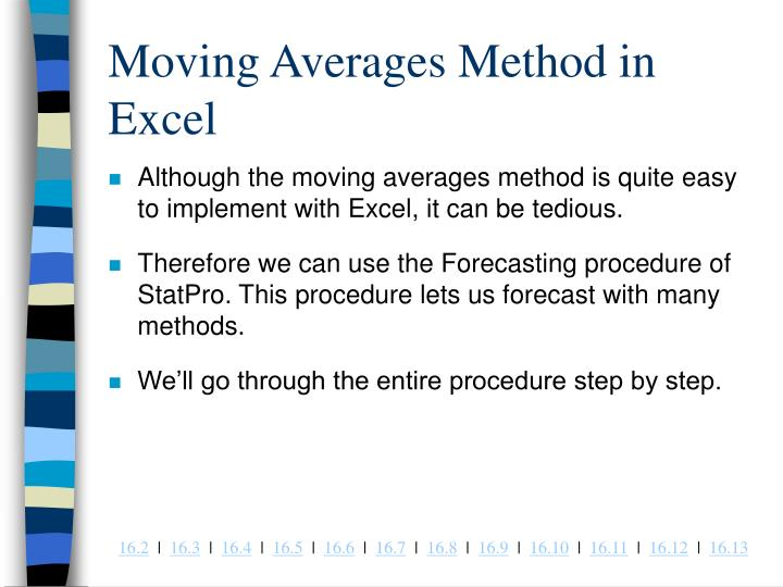 Moving Averages Method in Excel