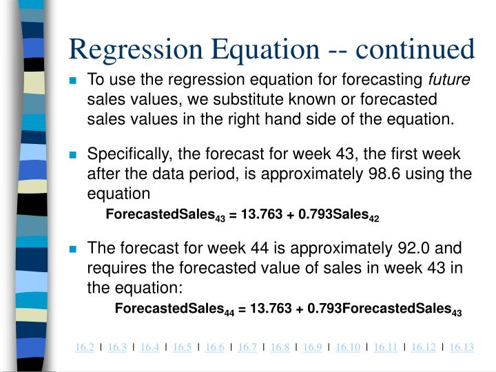 Regression Equation -- continued