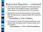 regression equation continued