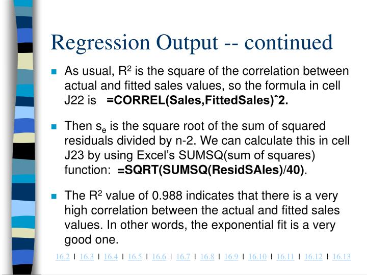Regression Output -- continued