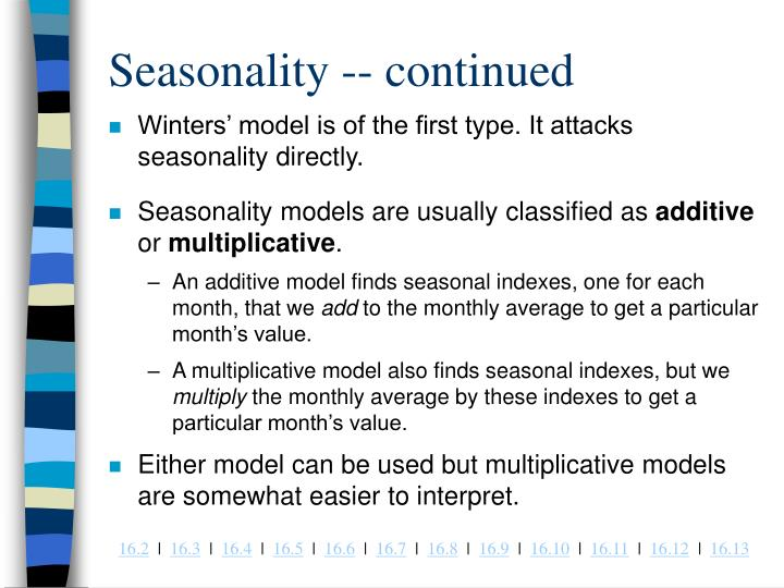 Seasonality -- continued