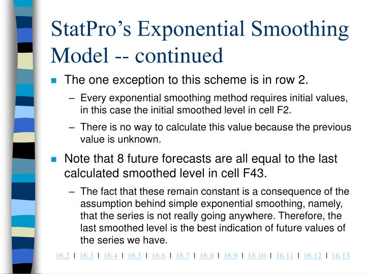 StatPro's Exponential Smoothing Model -- continued