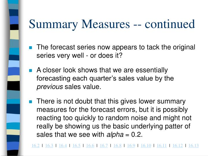 Summary Measures -- continued