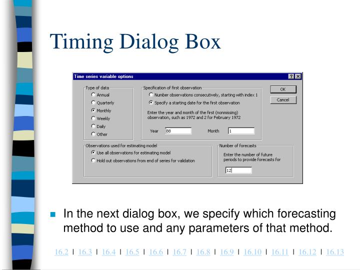 Timing Dialog Box