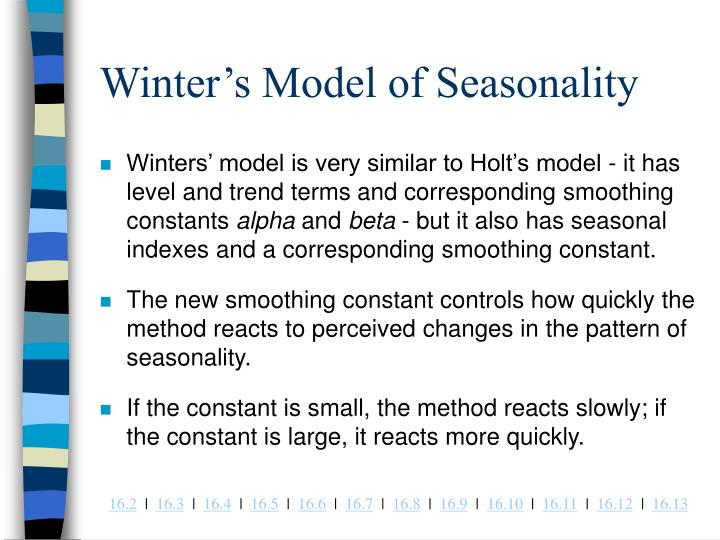 Winter's Model of Seasonality