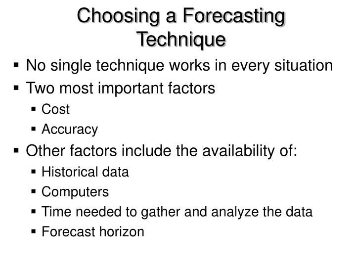 Choosing a Forecasting Technique