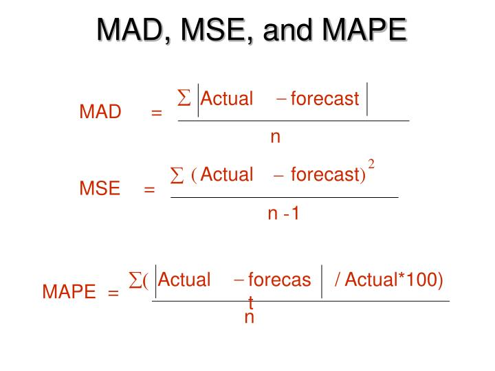 MAD, MSE, and MAPE