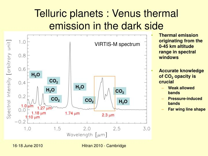 Telluric planets : Venus thermal emission in the dark side