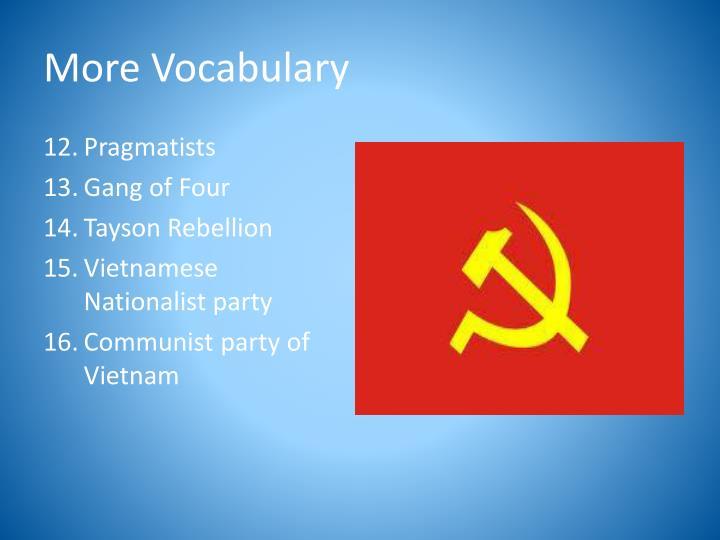More Vocabulary