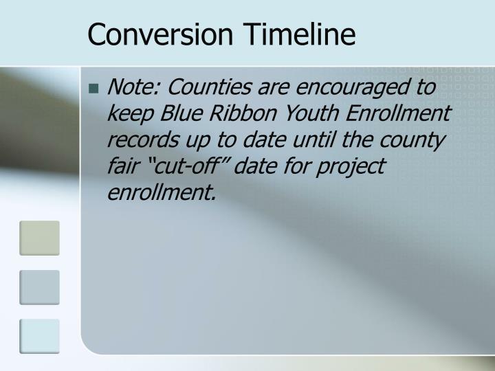Conversion Timeline
