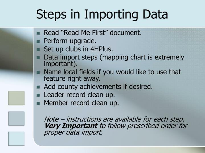 Steps in Importing Data