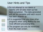 user hints and tips