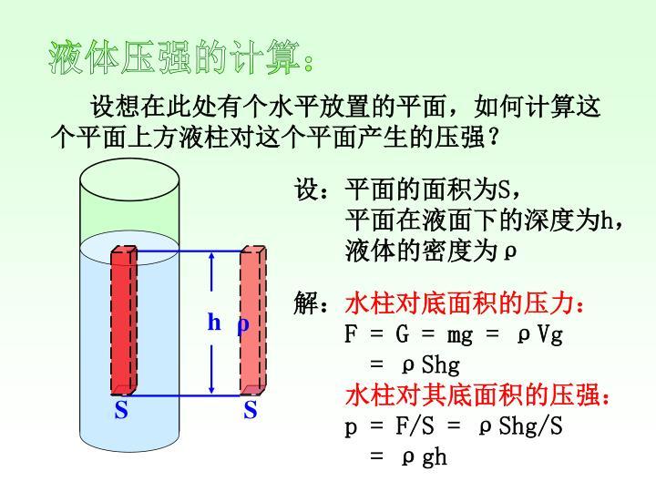 设想在此处有个水平放置的平面,如何计算这个平面上方液柱对这个平面产生的压强?