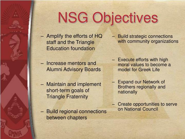 NSG Objectives