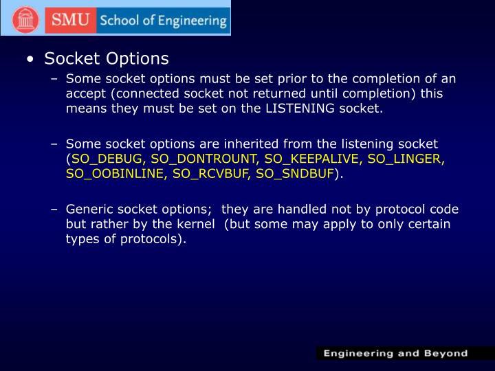 Socket Options