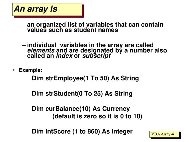 An array is