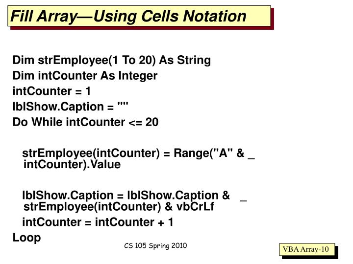 Fill Array—Using Cells Notation
