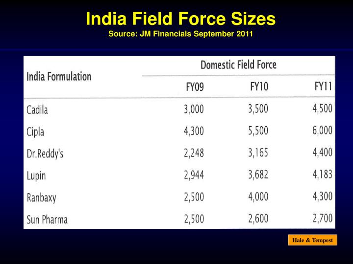 India Field Force Sizes