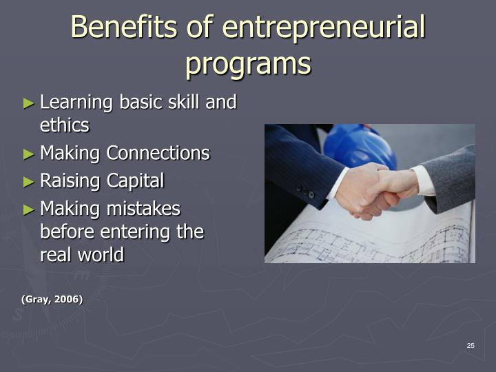 Benefits of entrepreneurial programs