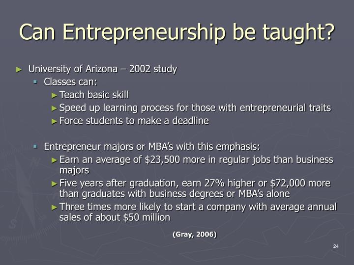 Can Entrepreneurship be taught?