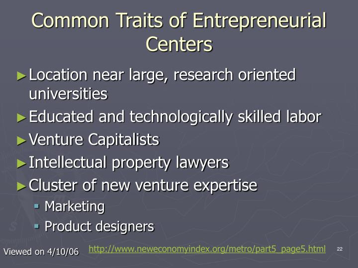 Common Traits of Entrepreneurial Centers