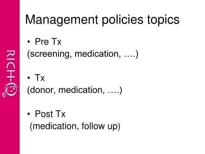 Management policies topics