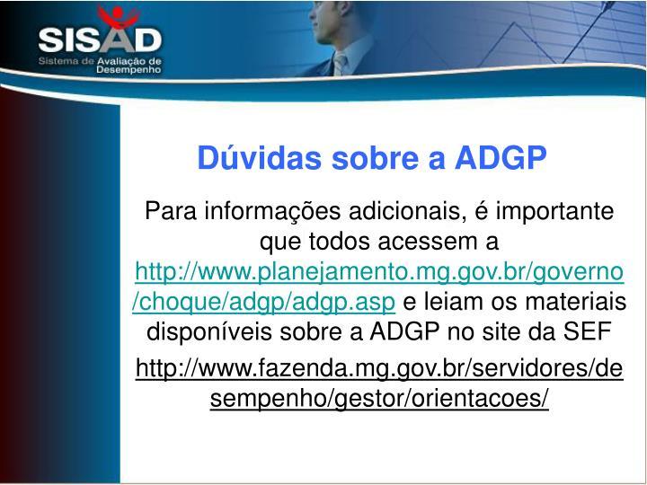 Dúvidas sobre a ADGP