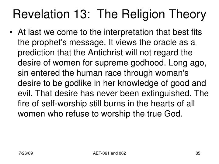 Revelation 13:  The Religion Theory