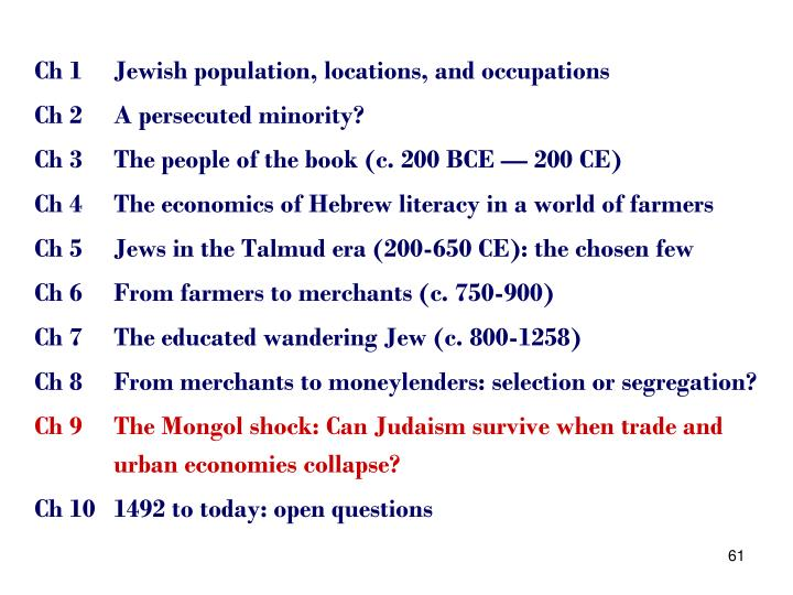 Ch 1	Jewish population, locations, and occupations